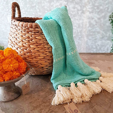 Light Blue Raw Cotton Throw With White Tassels