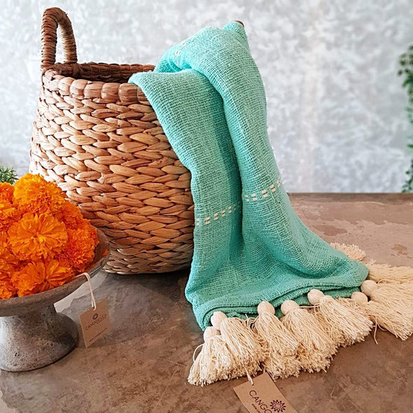 Light Blue Raw Cotton Throw With White Tassels - Canggu & Co