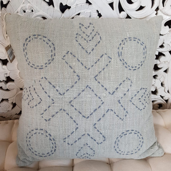 Nought's & Crosses Stitch Pattern Raw Cotton Cushions - Canggu & Co