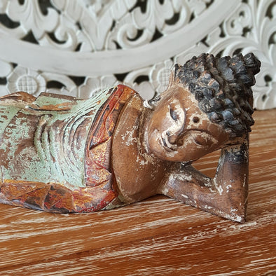 Antique Reclining Wooden Buddah - Canggu & Co