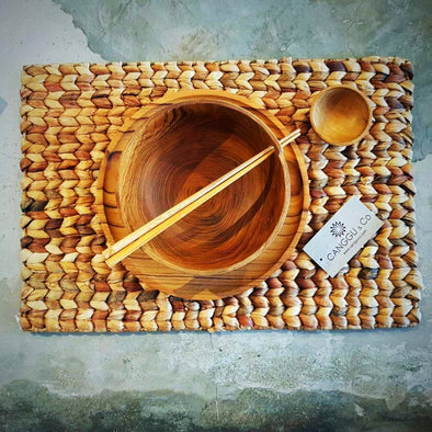 Natural Woven Banana Leaf Rectangular Dining Placemats - Canggu & Co