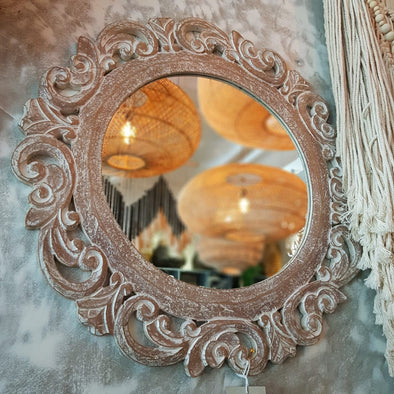 Round Ornate Carved Wooden Wall Mirror - Canggu & Co