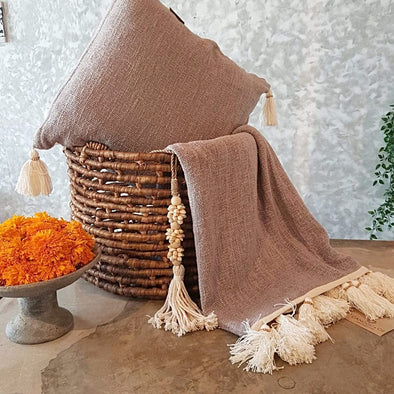 Grey Raw Cotton Throw With Natural Beaded Tassels - Canggu & Co