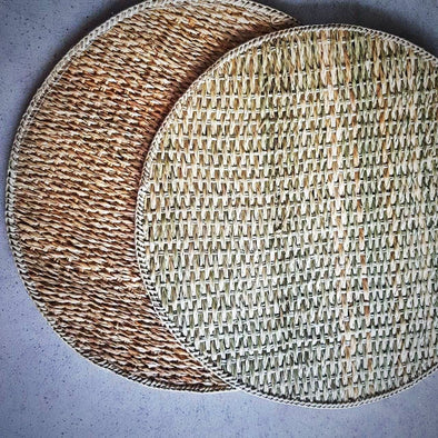 Natural Woven Grass Straw Round Dining Placemats - Canggu & Co