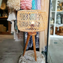 Woven Rattan Shade With Tripod Leg Table Lamp
