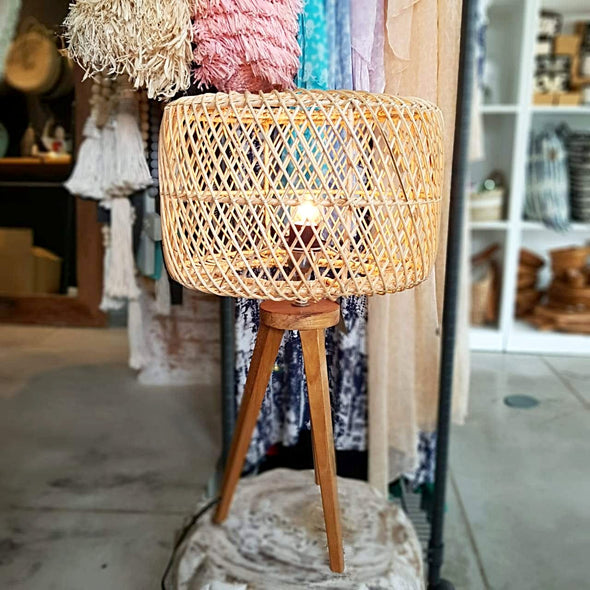Woven Rattan Shade With Tripod Leg Table Lamp - Canggu & Co