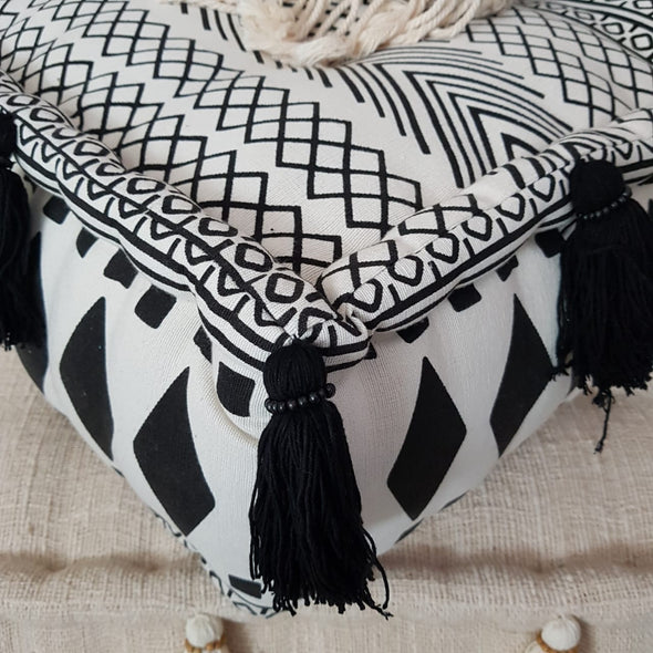 Square Aztec Pattern Linen Cotton Pouff With Tassels - Canggu & Co