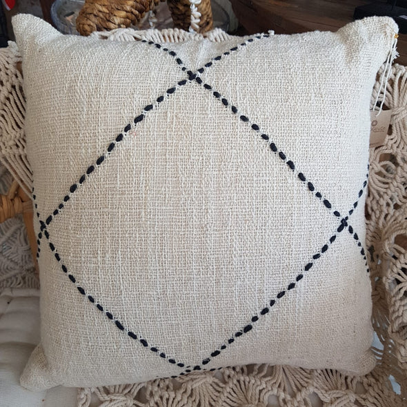 Black Stitch Diamond Pattern White Raw Cotton Cushion - Canggu & Co