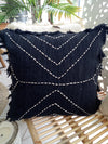 Arrow Head Stitch Motif Raw Cotton Cushions With Fringe - Canggu & Co