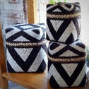Black & White Zebra Pattern Bead & Bamboo Box Set With Shells