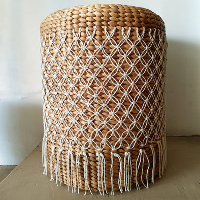 Water Hyacinth Stool With White Fringe