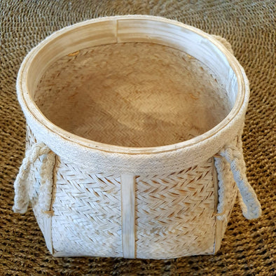 White Wash Bamboo Basket Set