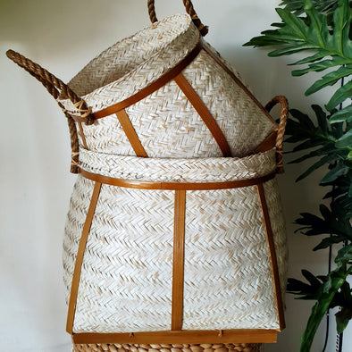 White Washed Bamboo Basket Set With Jute Handles