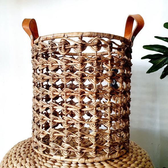 Woven Water Hyacinth Basket Set With Leather Handles