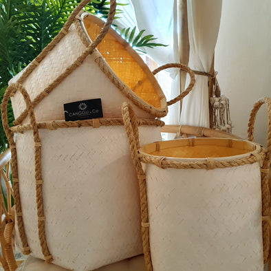 Tall White Bamboo Storage Basket Set