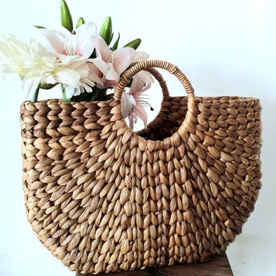 Natural Plaited Water Hyacinth Bag Set
