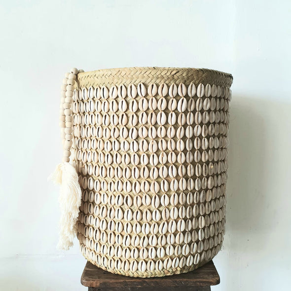 Natural Woven Bamboo And Cowrie Shell Basket