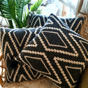 Black and White Diamond Motif Printed Cushion