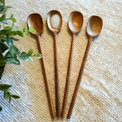 Small Wooden Square Head Juice Spoons With Slender Handles