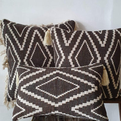 Brown Diamond Motif Printed Cushions With Fringe Or Tassels