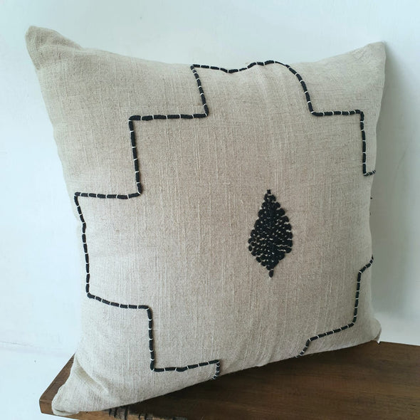 Simple Black Stitch Motif Cotton Linen Cushion