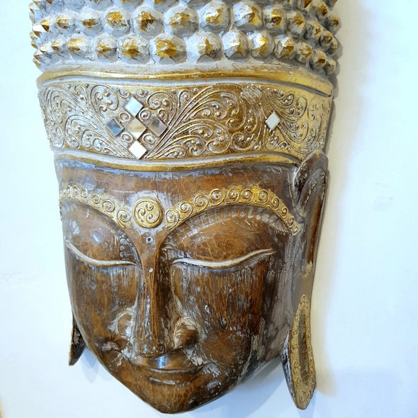 Carved Wooden Antique Buddha Head Wall Hanging