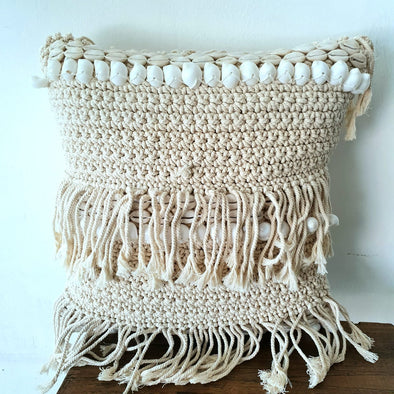 Knitted Macrame Cushion With Shell & Fringes