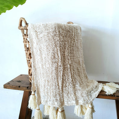 Loose Weave Very Soft Natural Raw Cotton Throw With Tassels or Pompoms
