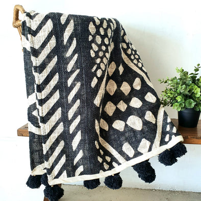 Black & White Raw Cotton Tribal Print Throw With Tassels Or Pompoms