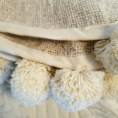 Natural Raw Cotton Throw With Brown Pompoms