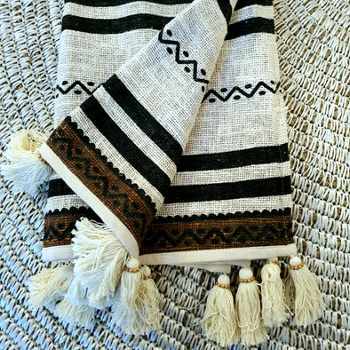 Tribal Pattern Raw Cotton Throw with Black or Natural Tassels