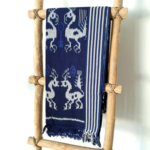 Sundanese Motif Dark Blue Throw