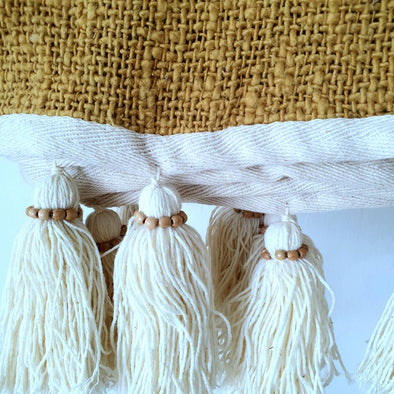 Mustard Raw Cotton Throw With Natural Beaded Tassels