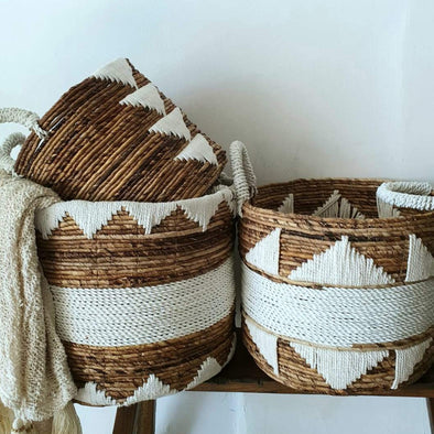 Natural Banana Leaf & Macrame Pattern Basket Set