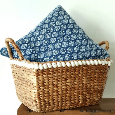 Woven Water Hyacinth Basket With Shells