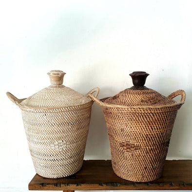 Woven Rattan Baskets With Flower Shaped Top Handle