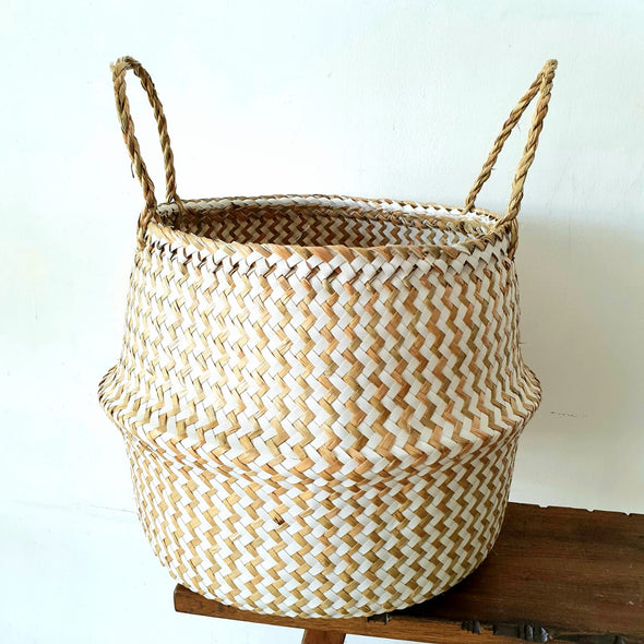 Large Natural & White Collapsible Bamboo Basket