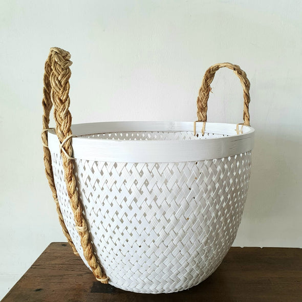 White & Black Bamboo Basket Sets With Natural Handles