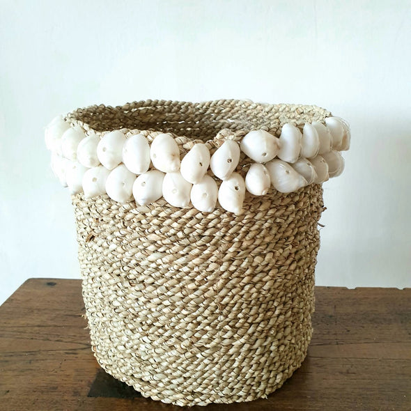 Small Water Hyacinth & Sea Shell Basket Set