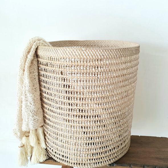 White Washed Woven Rattan Basket