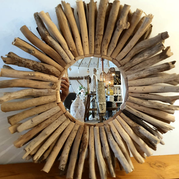 Large Driftwood Round Wall Mirror