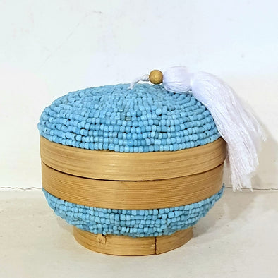 Small Round Beaded Bamboo Boxes With White Tassel