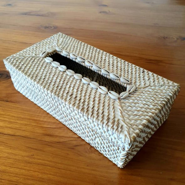 Rattan & Sea Shell Tissue Box Holder