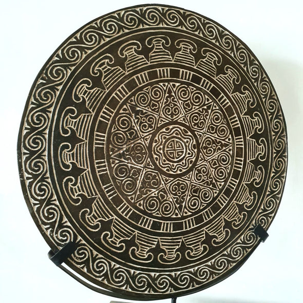 Large Round Carved Tribal Wooden Plate With Stand