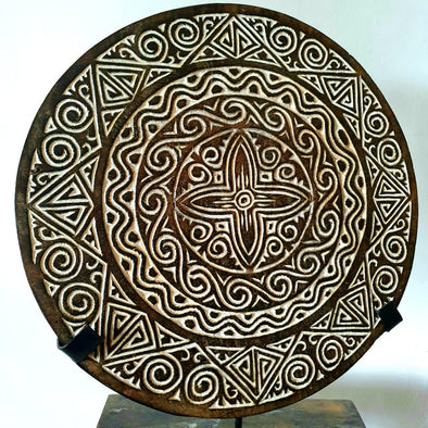 Medium Round Carved Tribal Wooden Plate With Stand