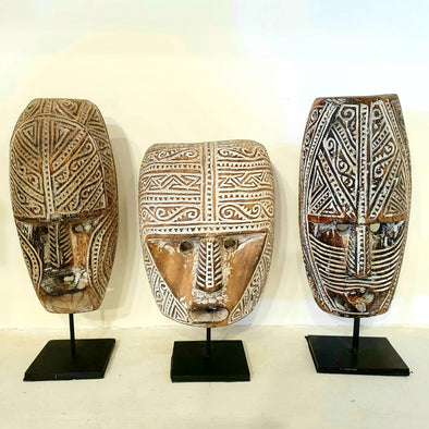 Antique Carved Motif Tribal Wooden Head Masks