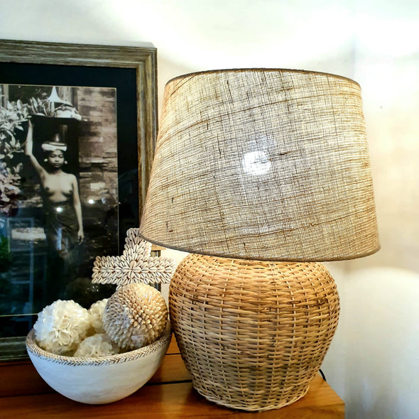 Large Natural Woven Bamboo Desk Lamp