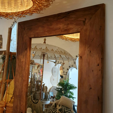 Brown Teak Wooden Standing Mirrors