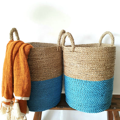 Large Two Tone Blue Raffia & Straw Grass Basket