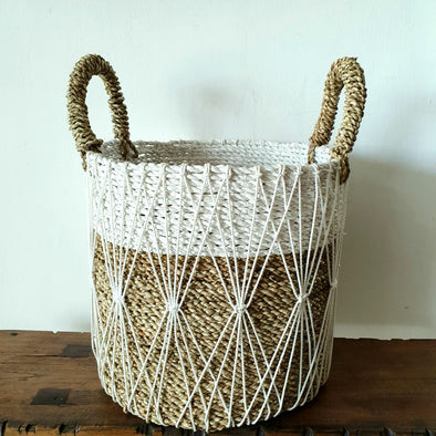 Macrame, Raffia & Straw Grass Basket Set